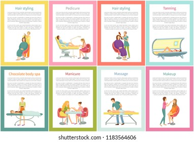 Body wrap and manicure tanning woman using solarium sunroom. Posters set with text sample and chocolate care, massage and visage, manicurist vector