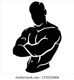 The body of a young man in good shape and his body is very big.-vector