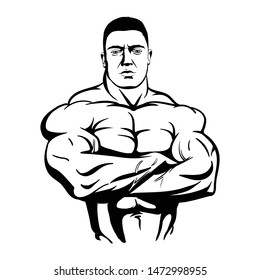 bodybuilder with arms crossed. Vector illustration black on white background