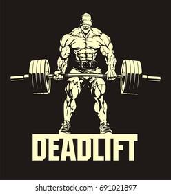 bodybuilder with barbell, deadlift, vector image