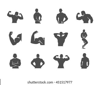 Bodybuilder Bodybuilding Gym Silhouettes Vector Icon Set