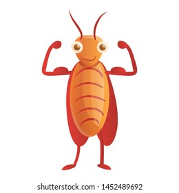 Bodybuilder cockroach icon. Cartoon of bodybuilder cockroach vector icon for web design isolated on white background
