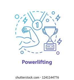 Bodybuilder competition concept icon. Champion idea thin line illustration. Powerlifting. Vector isolated outline drawing
