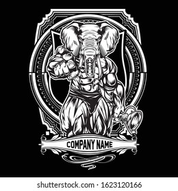 Bodybuilder Elephant Drawing Black & White on Black  Background vector illustrator