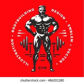 Bodybuilder emblem illustration on red background