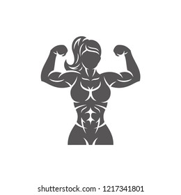 Bodybuilder female silhouette isolated on white background vector illustration. Vector fitness gym graphics illustration.