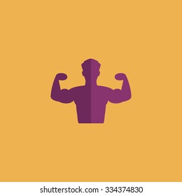 Bodybuilder Fitness Model. Colorful vector icon. Simple retro color modern illustration pictogram. Collection concept symbol for infographic project and logo