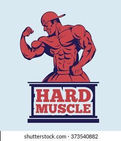 bodybuilder fitness model posing logo . muscle man emblem