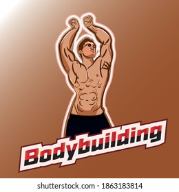 Bodybuilder from the front double biceps.
