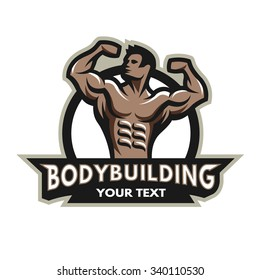 Bodybuilder from the front double biceps. Badge, emblem.