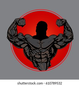 Bodybuilder from the front double biceps. Badge, sports symbol.
