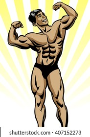 Bodybuilder in front double biceps pose. Aesthetic bodybuilding. Young bodybuilder. Men's physique athlete. Pop art retro illustration. Old school bodybuilding.
