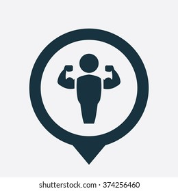 bodybuilder icon, on white background map pin