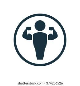 bodybuilder icon, on white background