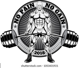 Bodybuilder lifting a heavy barbell. Very Angry Bodybuilder. Logo with bodybuilder for T-shirt. Vector illustration