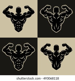 Bodybuilder logo, symbol, two positions for light and dark background.