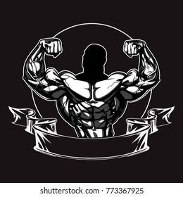 Bodybuilder Logo Template. Vector Object, Icon, Sport Label. Gym Logo Design. Fitness Badge. Emblem. Graphics. Weightlifting Symbol.