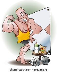 Bodybuilder in love vector cartoon illustration