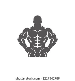 Bodybuilder male silhouette isolated on white background vector illustration. Vector fitness gym graphics illustration.