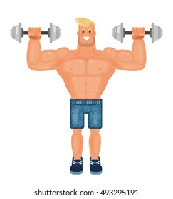 Bodybuilder man in the gym isolated on white background. Young athlete doing power lifting exercises. Smiling athletic boy lifts a dumbbells, trendy flat vector illustration.