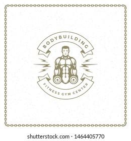 Bodybuilder man logo or badge vector illustration, male hands holding dumbbells symbol silhouette. Retro typography fitness emblem design template or label print stamp.