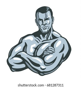 Bodybuilder man posing, crossing his hands. Gym sport club logo design template, print or poster. Vector illustration.