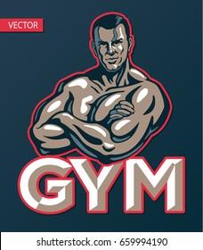 Bodybuilder man posing, gym sport club logo design template, print or poster. Vector illustration.