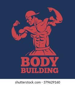 bodybuilder muscle man fitness model posing logo. bodybuilder showing muscles bodybuilding emblem