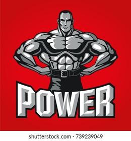 Bodybuilder muscle man posing, sport club logo design template, label, banner, print or poster. Vector illustration.