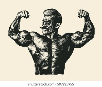 Bodybuilder with a mustache. Retro Engraving Linocut Style. Vector Illustration.