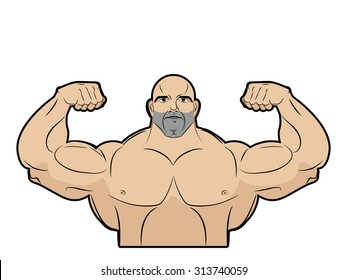 Bodybuilder on a white background. Athlete with large muscles. Big brutal men with muscled. Emblem for gym.  Fitness model in pose a double biceps in front. Vector illustration.