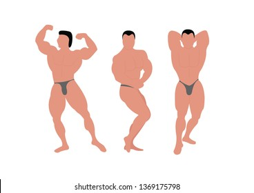 Bodybuilder poses, shows obligatory poses. Hands in the front (double biceps), muscles of the arm, chest and thighs, lateral position (biceps on the side), abdominal muscles (press).