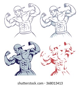bodybuilder posing muscle man fitness model line drawing illustration on white background