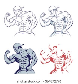 bodybuilder posing muscle man line drawing illustration on white background