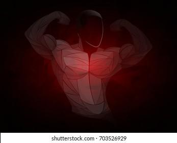 Bodybuilder red. Bodybuilder is dark-skinned. Beautiful and muscular black man on dark background. Athlete black, vector