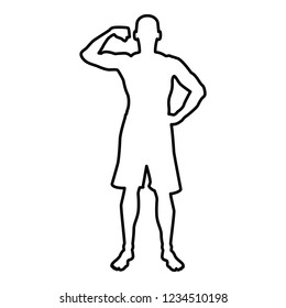 Bodybuilder showing biceps muscles Bodybuilding sport concept silhouette front view icon outline black color