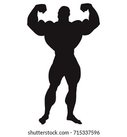 Bodybuilder. Silhouette of very big guy posing. Front double biceps. Vector illustration