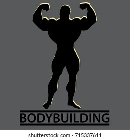 Bodybuilder. Silhouette of very big guy posing. Bodybuilding text below. Front double biceps. Vector illustration