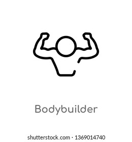 bodybuilder vector line icon. Simple element illustration. bodybuilder outline icon from gym and fitness concept. Can be used for web and mobile