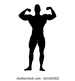 Bodybuilder vector silhouette. Strong standing man with big muscles