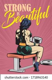 bodybuilder woman with dumbbels, fitness girl, gym motivational poster, comics, pop art, vector illustration