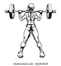 Bodybuilder woman squatting vector image