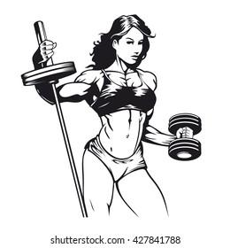Bodybuilder woman vector image