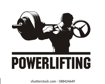 Bodybuilder working out, doing squats with barbell, powerlifting, vector image