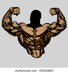 Bodybuilders Torso With Strong Big Arms. Front Double Biceps.  Extremely Shredded. Vector