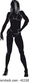 Bodybuilder-woman. Vector silhouette against white background