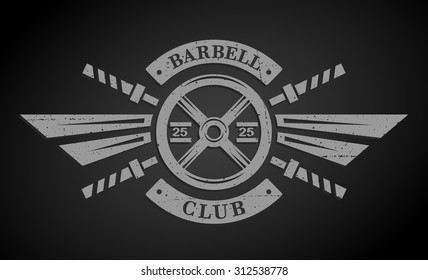 Bodybuilding emblem. Disk weight and  barbell. The monochrome style on a dark background.