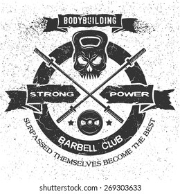 Bodybuilding emblem in vintage style. Isolated background.
