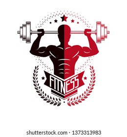 Bodybuilding and fitness sport logo templates, retro style vector emblem. With bodybuilder silhouette.
