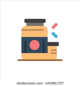 Bodybuilding, Gainer, Protein, Sports, Supplement  Flat Color Icon. Vector icon banner Template